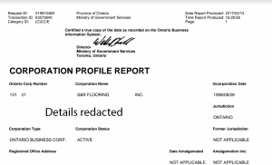 Ontario corporation profile report sample