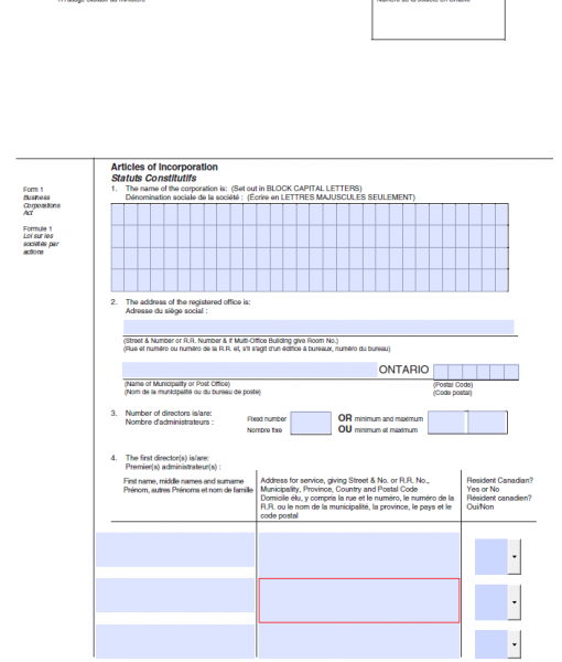 Articles of Incorporation Form 1