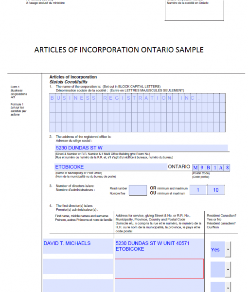 Articles of incorporation ontario sample business for Articles of partnership template