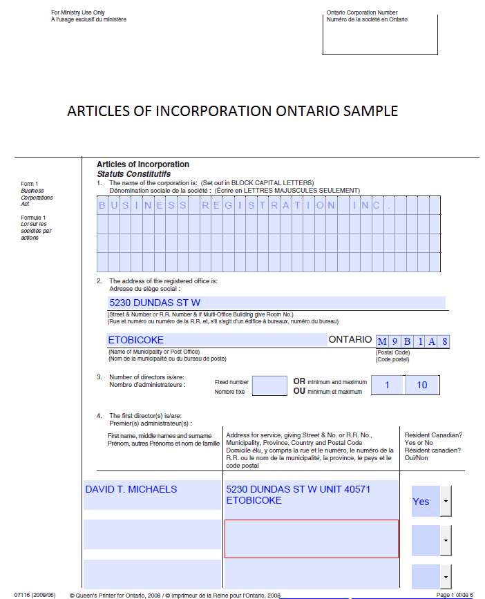 Articles of Incorporation Ontario Sample | Business Registration