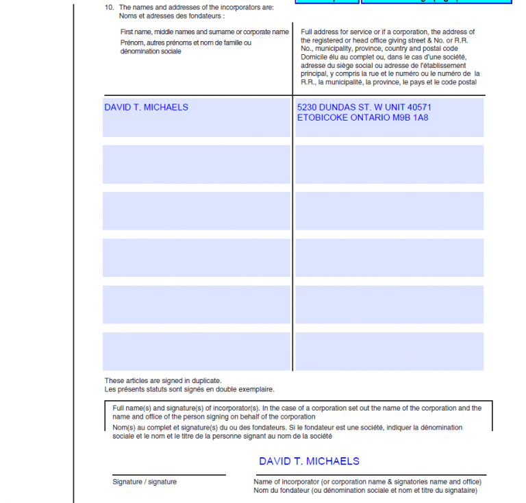 articles of incorporation ontario sample page 6