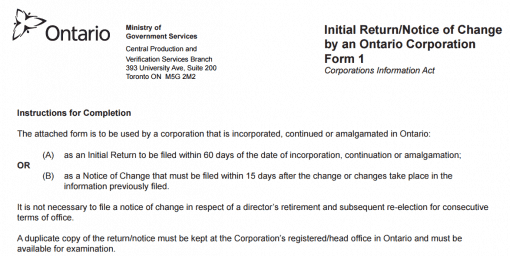 Ontario corporation initial return form 1