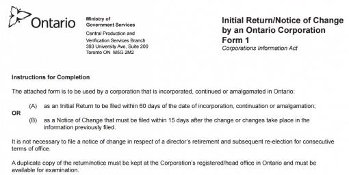 Ontario corporation initial return form 1
