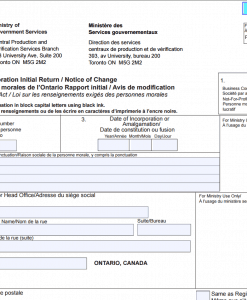 Ontario corporation initial return form 1 page 1 top