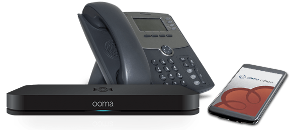 Ooma VoIP Phone service: Ooma base, CISCO VoIP phone, and an Ooma mobile app